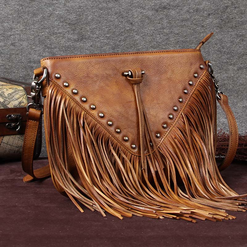 Handmade Genuine Leather Vintage Tassels Crossbody Shoulder Bags Purses Women Brown