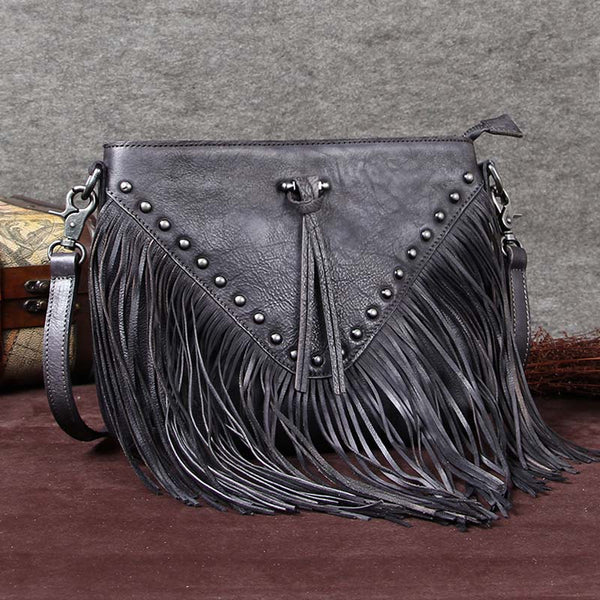Handmade Genuine Leather Vintage Tassels Crossbody Shoulder Bags Purses Women Grey