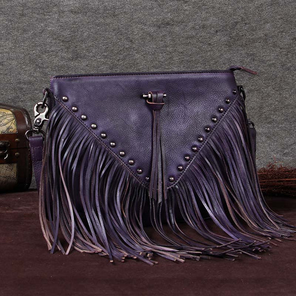 Handmade Genuine Leather Vintage Tassels Crossbody Shoulder Bags Purses Women Purple
