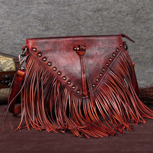 Handmade Genuine Leather Vintage Tassels Crossbody Shoulder Bags Purses Women Red