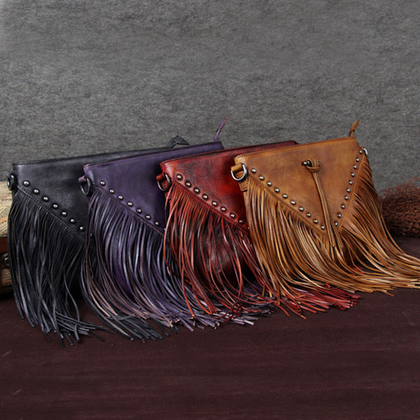 Handmade Genuine Leather Vintage Tassels Crossbody Shoulder Bags Purses Women boho
