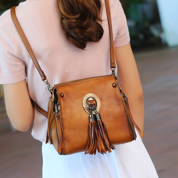 Handmade Genuine Leather Vintage Tassels backpacks Handbag Crossbody Shoulder Bags Womens Accessories Brown