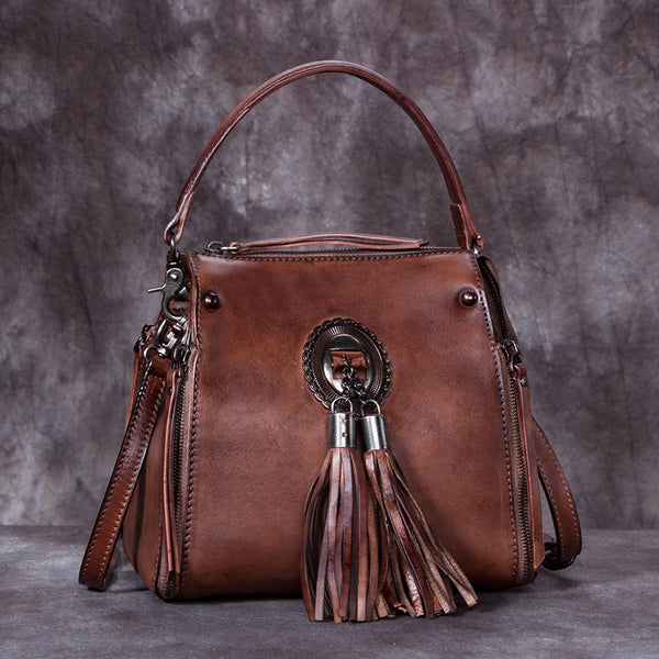 Handmade Genuine Leather Vintage Tassels backpacks Handbag Crossbody Shoulder Bags Womens Accessories Coffee