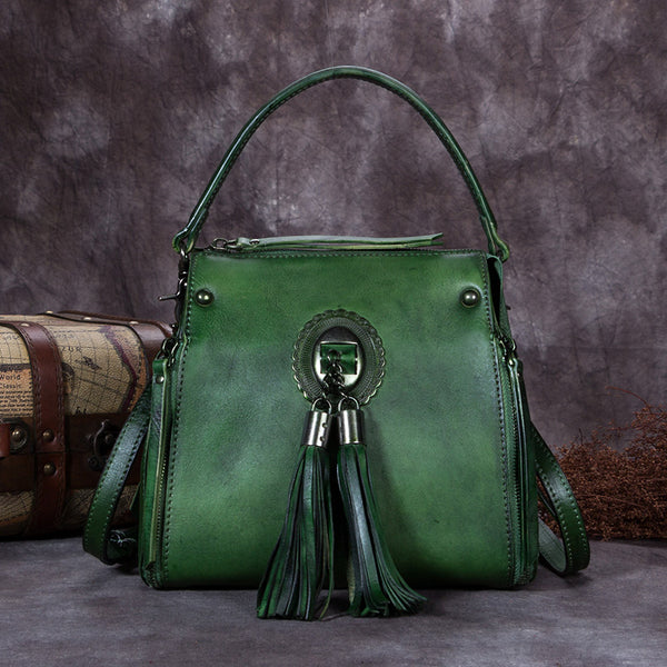Handmade Genuine Leather Vintage Tassels backpacks Handbag Crossbody Shoulder Bags Womens Accessories Green