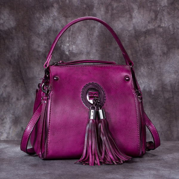 Handmade Genuine Leather Vintage Tassels backpacks Handbag Crossbody Shoulder Bags Womens Accessories Purple