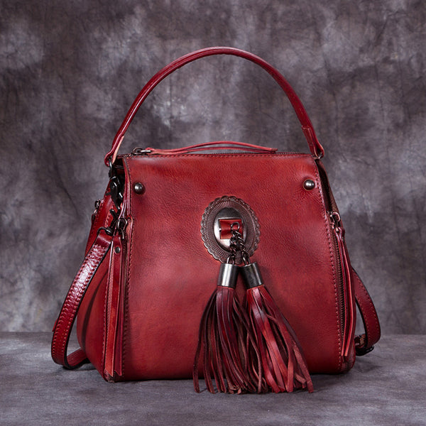 Handmade Genuine Leather Vintage Tassels backpacks Handbag Crossbody Shoulder Bags Womens Accessories Red