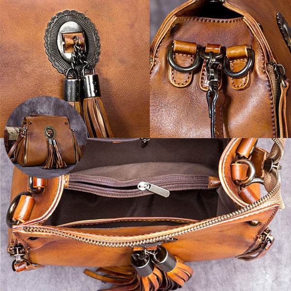 Handmade Genuine Leather Vintage Tassels backpacks Handbag Crossbody Shoulder Bags Womens Accessories Unique