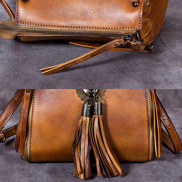 Handmade Genuine Leather Vintage Tassels backpacks Handbag Crossbody Shoulder Bags Womens Accessories