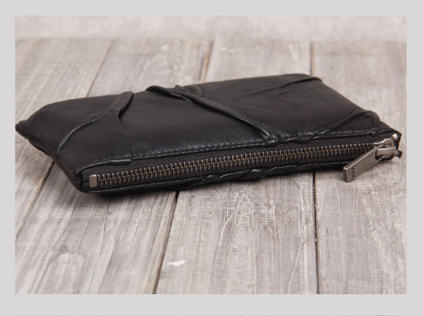 Handmade Genuine Leather Wallet Clutches Handbags Phone Case Women Men modern