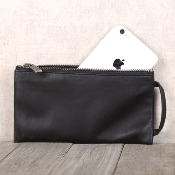 Handmade Genuine Leather Wallet Clutches Handbags Phone Case Women Men Minimalism