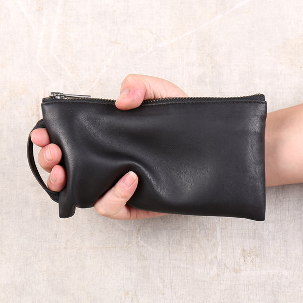 Handmade Genuine Leather Wallet Clutches Handbags Phone Case Women Men cool
