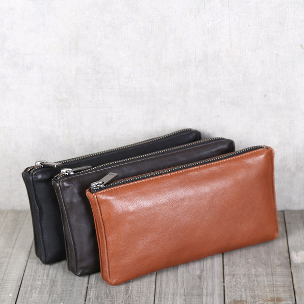 Handmade Genuine Leather Wallet Clutches Handbags Phone Case Women Men fashionable