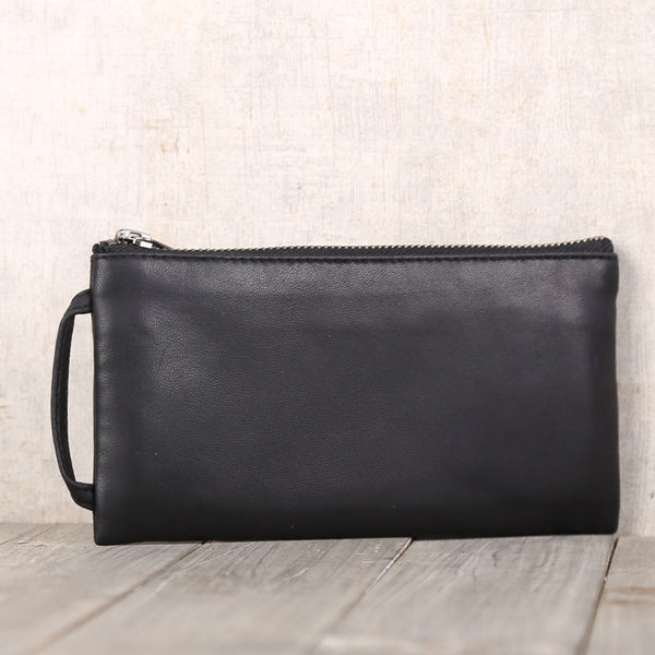 Handmade Genuine Leather Wallet Clutches Handbags Phone Case Women Men