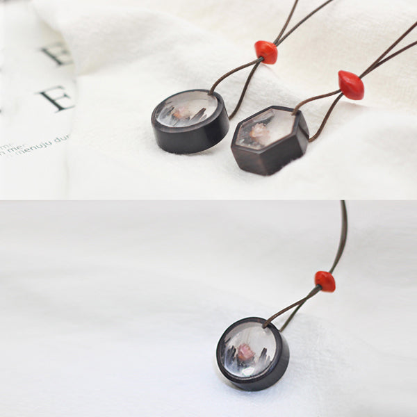Handmade Herbage Wood Resin Pendant Necklace Unique Couple Jewelry Accessories Women Men chic