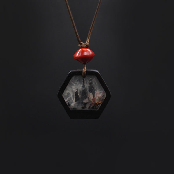 Handmade Herbage Wood Resin Pendant Necklace Unique Couple Jewelry Accessories Women Men elegant
