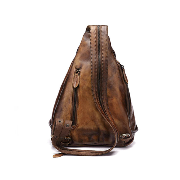 Handmade Ladies Genuine Leather Backpack Purse Small Rucksack Bag For Women Genuine Leather