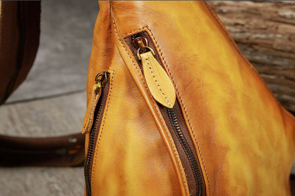 Handmade Ladies Genuine Leather Backpack Purse Small Rucksack Bag For Women Handmade
