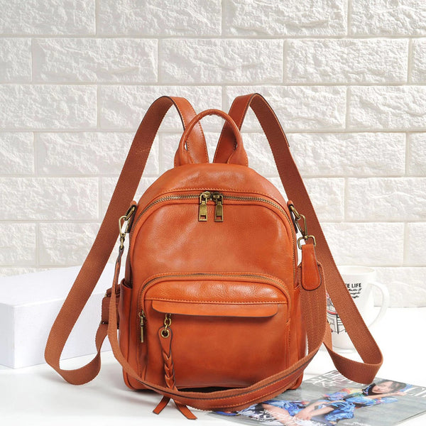 Handmade Ladies Leather Backpack Purse Small Rucksack Cross shoulder bag For Women