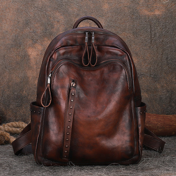 Handmade Ladies Leather Laptop Backpack Purse Women's Leather Rucksack For Women Accessories