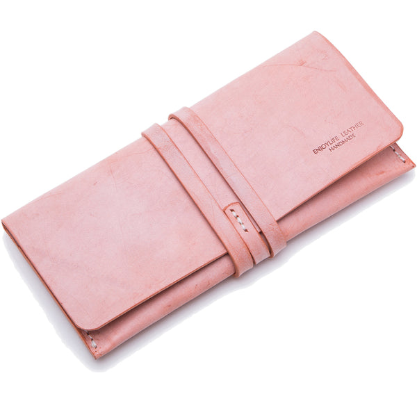 Handmade Ladies Pink Leather Long Wallets Clutch Bags Purses for Women Boutique
