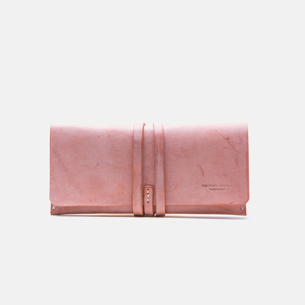 Handmade Ladies Pink Leather Long Wallets Clutch Bags Purses for Women chic