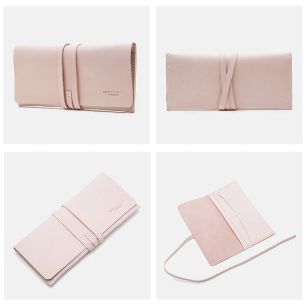 Handmade Ladies Pink Leather Long Wallets Clutch Bags Purses for Women Details