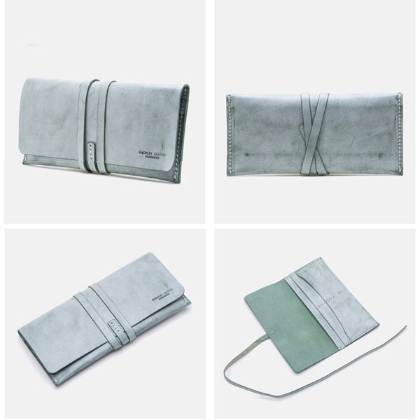 Handmade Ladies Pink Leather Long Wallets Clutch Bags Purses for Women fashion