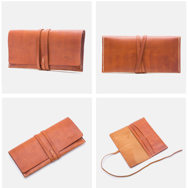 Handmade Ladies Pink Leather Long Wallets Clutch Bags Purses for Women gift