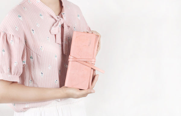 Handmade Ladies Pink Leather Long Wallets Clutch Bags Purses for Women Minimalist