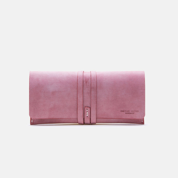Handmade Ladies Pink Leather Long Wallets Clutch Bags Purses for Women
