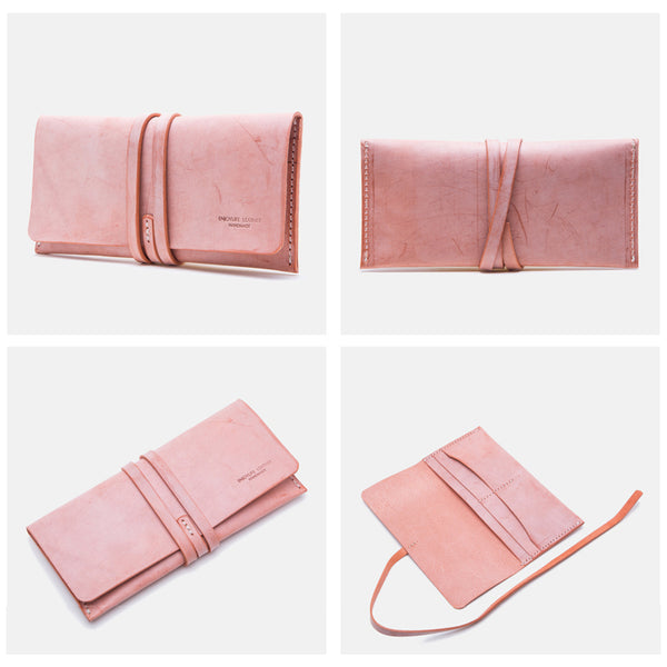 Handmade Ladies Pink Leather Long Wallets Clutch Bags Purses for Women Designer