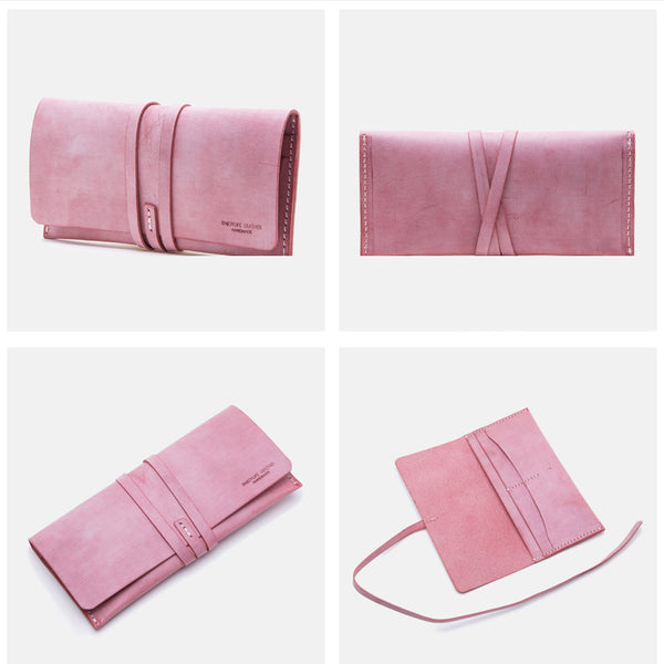 Handmade Ladies Pink Leather Long Wallets Clutch Bags Purses for Women Genuine Leather