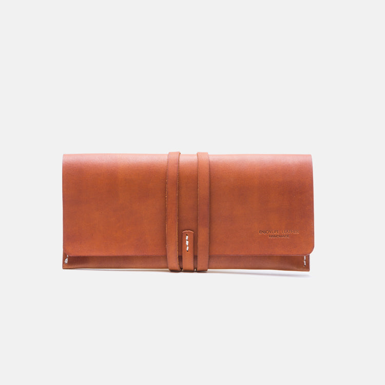Handmade Ladies Pink Leather Long Wallets Clutch Bags Purses for Women Vintage