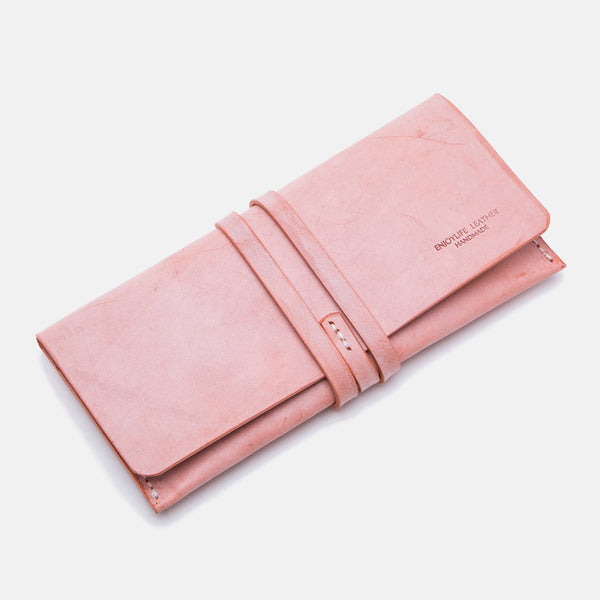 Handmade Ladies Pink Leather Long Wallets Clutch Bags Purses for Women Accessories