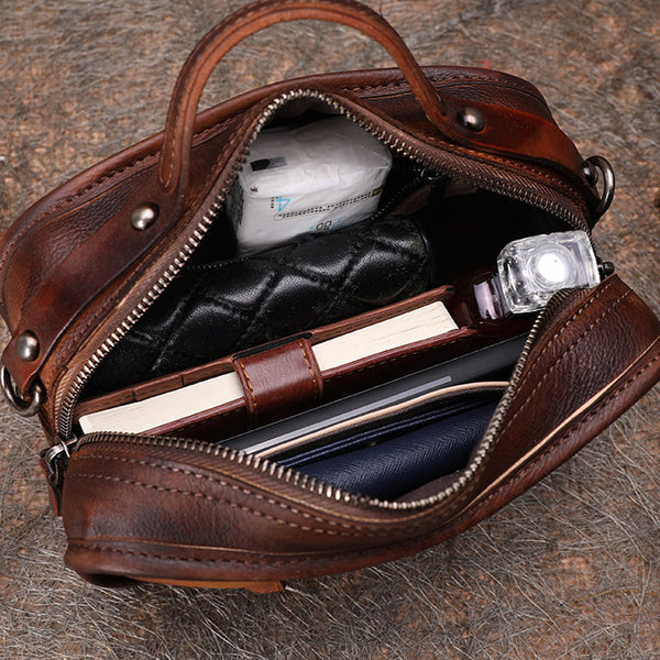 Handmade Leather Crossbody Bags Shoulder Bag Purses for Women Brown