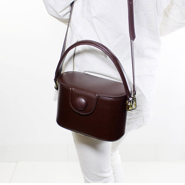 Womens Brown Leather Handbags Bucket Bag Crossbody Bags for  Women