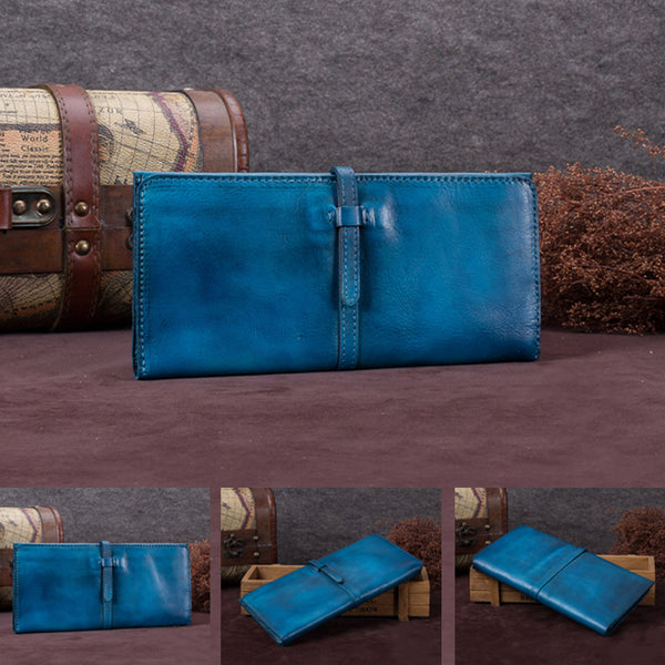 Handmade Leather Long Wallet Clutch Accessories Gift Women Blue detail