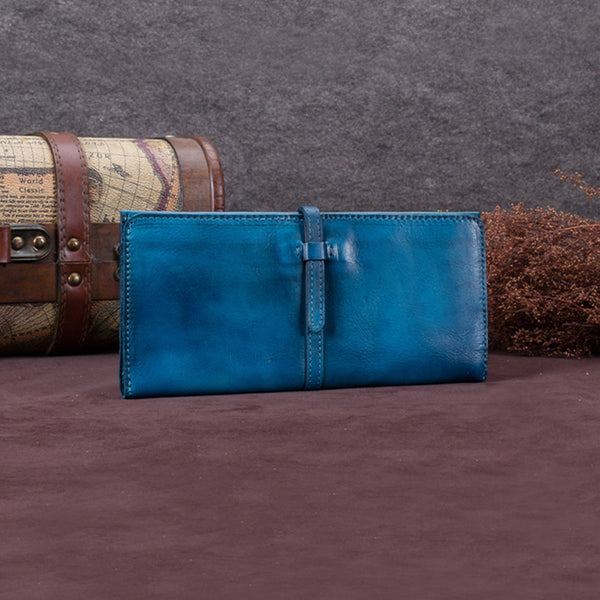 Handmade Leather Long Wallet Clutch Accessories Gift Women Blue