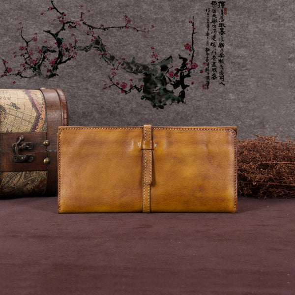 Handmade Leather Long Wallet Clutch Accessories Gift Women Brown