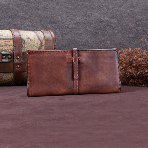 Handmade Leather Long Wallet Clutch Accessories Gift Women Coffee