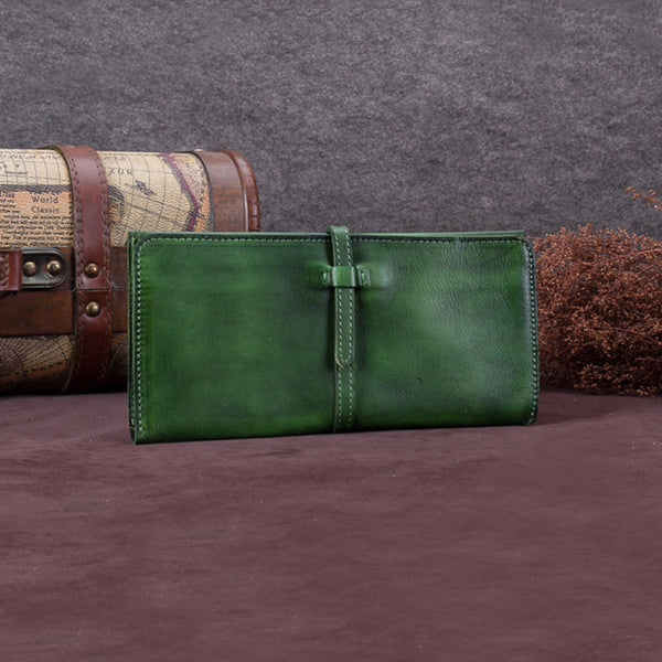 Handmade Leather Long Wallet Clutch Accessories Gift Women Dark Green