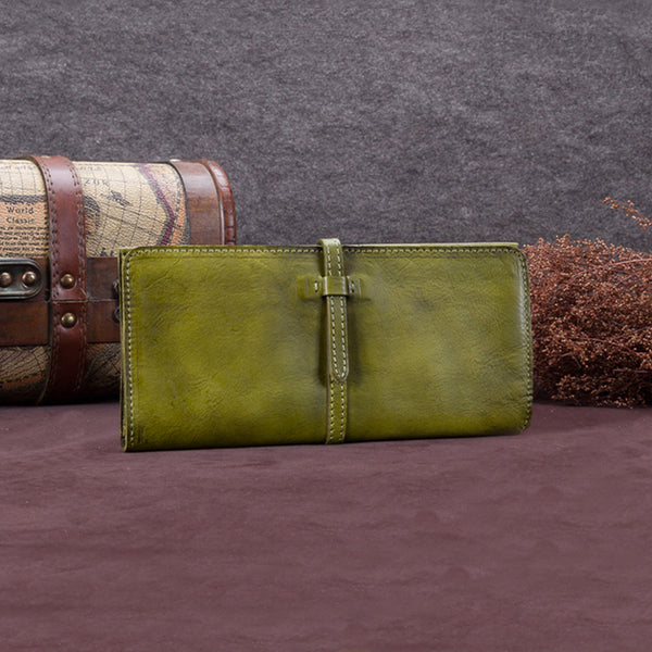 Handmade Leather Long Wallet Clutch Accessories Gift Women Green