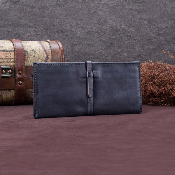Handmade Leather Long Wallet Clutch Accessories Gift Women Grey