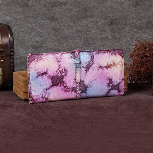 Handmade Leather Long Wallet Clutch Accessories Gift Women Pink