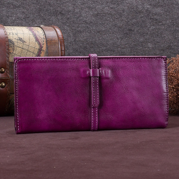 Handmade Leather Long Wallet Clutch Accessories Gift Women Purple