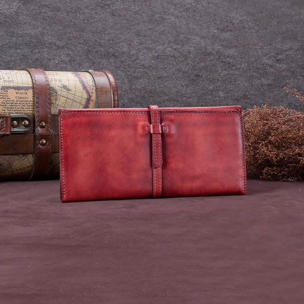 Handmade Leather Long Wallet Clutch Accessories Gift Women Red