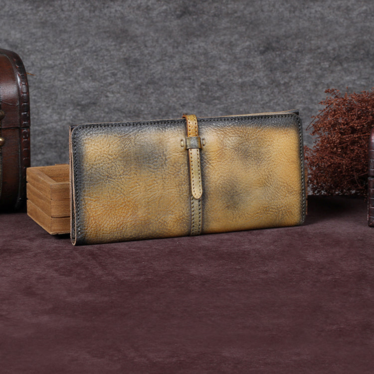 Handmade Leather Long Wallet Clutch Accessories Gift Women Yellow