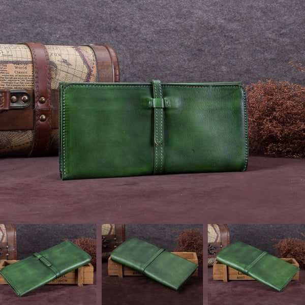 Handmade Leather Long Wallet Clutch Accessories Gift Women coin wallet