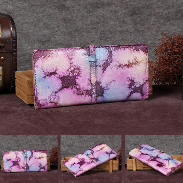 Handmade Leather Long Wallet Clutch Accessories Gift Women cool wallet