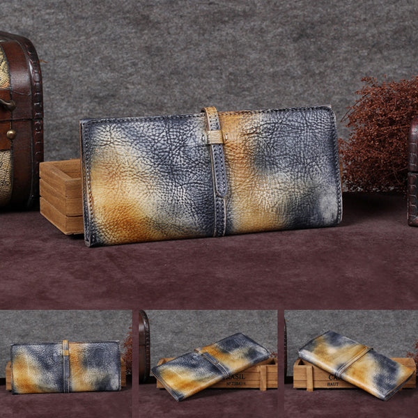 Handmade Leather Long Wallet Clutch Accessories Gift Women details